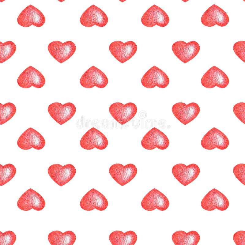 Love temes seamless texture. White background. Simple seamless pattern with red hearts isolated on white. stock illustration