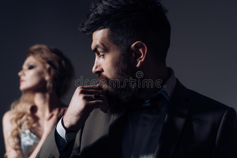 Love is a tender look. Bearded man and woman on first date. Happy valentines day. Couple of man and woman date on stock photo