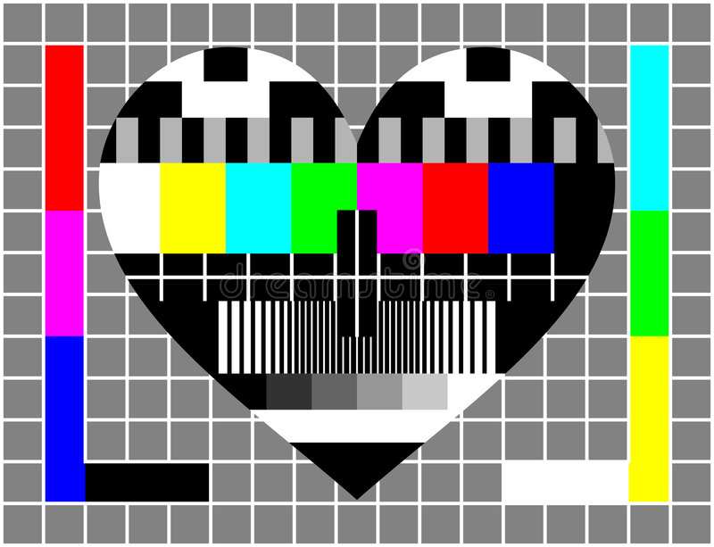 Love Test Screen. Relationship problems? Test your love. Metaphor showing a television test screen with the shape of a heart. Suitable also for an alternative St
