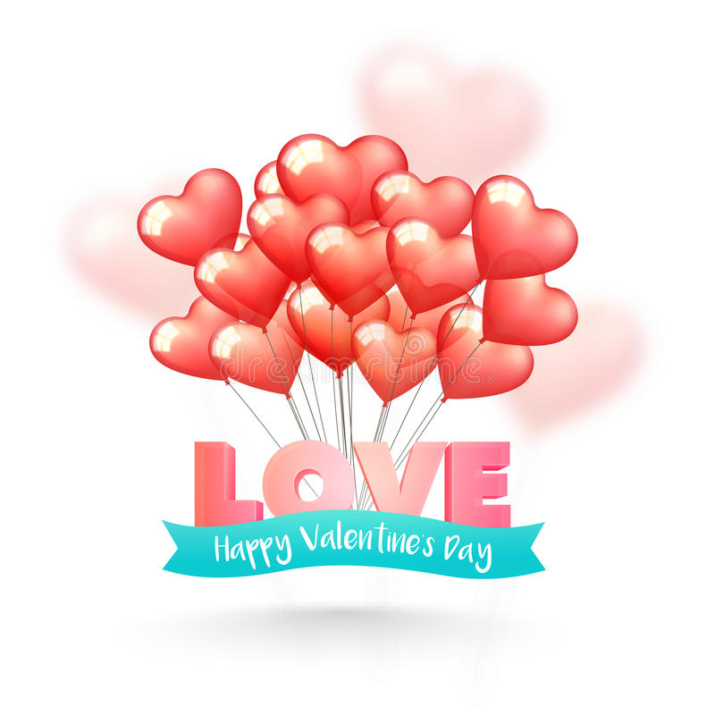 Love Text with Balloons for Valentine`s Day. 3D glossy Text Love with ribbon and Heart shaped balloons for Happy Valentine`s Day Celebration royalty free illustration