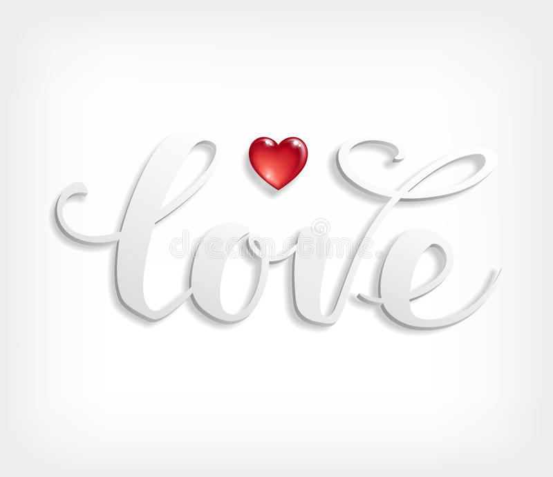 Love text. Calligraphic Lettering. stock illustration