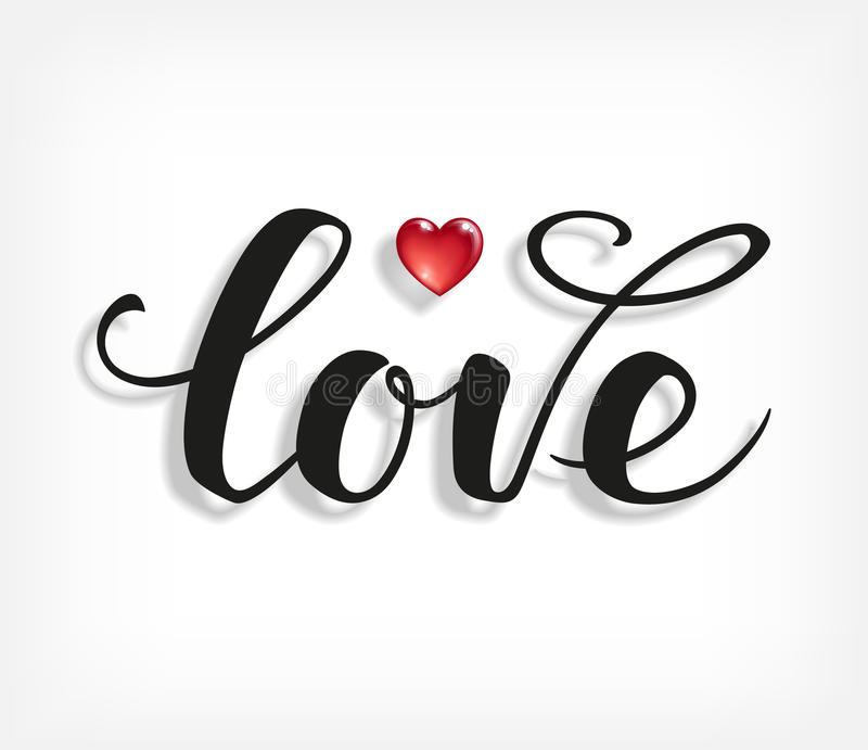 Love text. Calligraphic Lettering. vector illustration