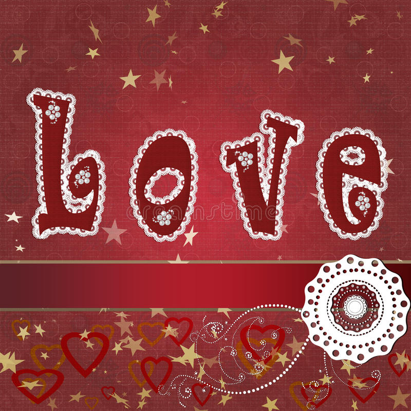 Love. Text composition with stars and lace vector illustration