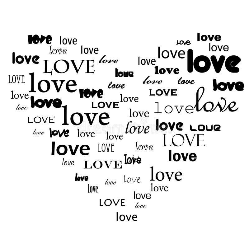 Love text in heart shape vector illustration