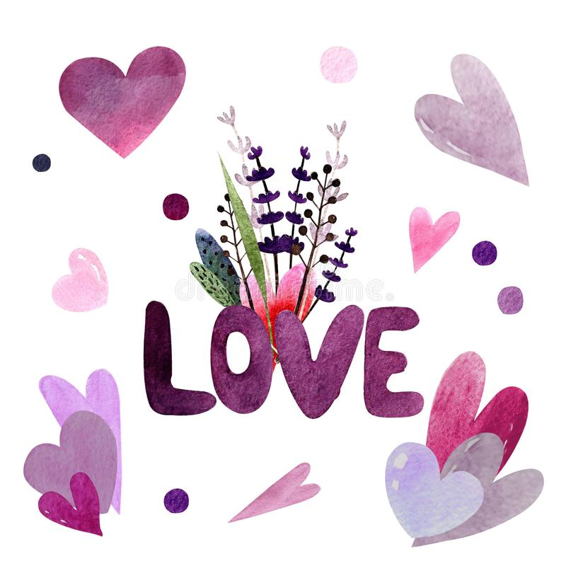 Love text with herbs and hearts. Watercolor illustration. Happy valentine`s day. Love text with herbs. Watercolor illustration. Happy valentine`s day. Hand drawn stock illustration