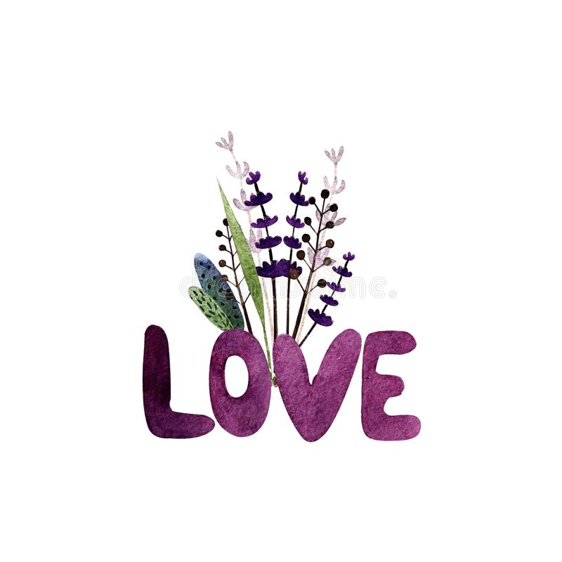 Love text with herbs. Watercolor illustration. Happy valentine`s day. Hand drawn lettering Love royalty free illustration