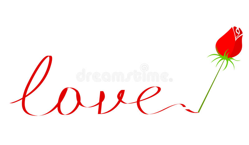 Download Love text with rose stock vector. Illustration of love - 24253164