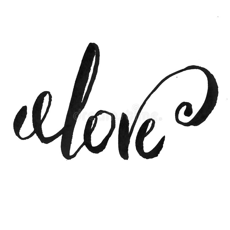 Love text sign calligraphy lettering , black isolated on white hand written word with custom skript curls ink vector illustration