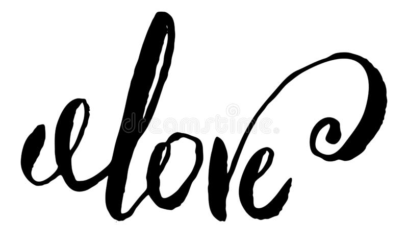 Love text sign calligraphy lettering , black isolated on white hand written word with custom skript curls ink. Love text sign calligraphy lettering , black vector illustration