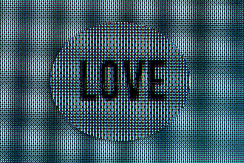 Love text super macro in OLED screen magnified. Closeup macro of Love text in OLED screen magnified stock photography