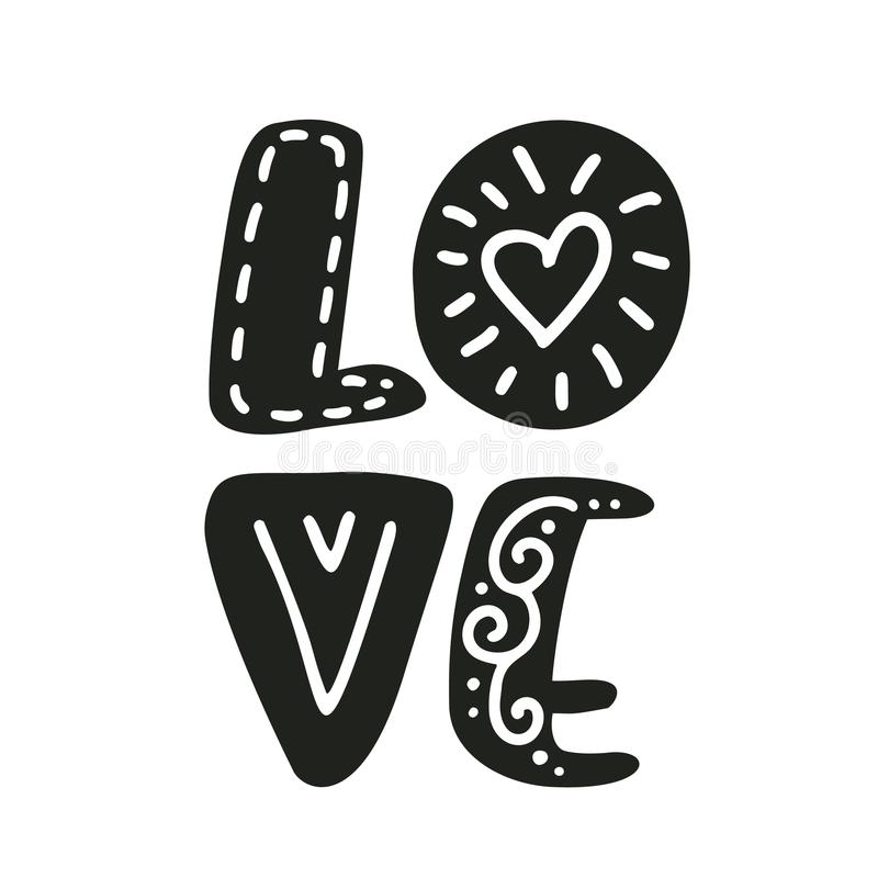 Love text Vector Valentines Day text with glitter elements scandinavian. Shine hand drawn letters. Romantic quote for vector illustration