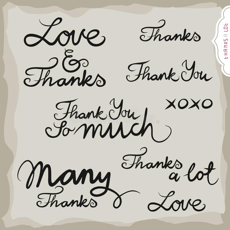 Download Love And Thanks Hand Drawn Inscription Set Stock Vector - Illustration of collection, abstract: 33122847