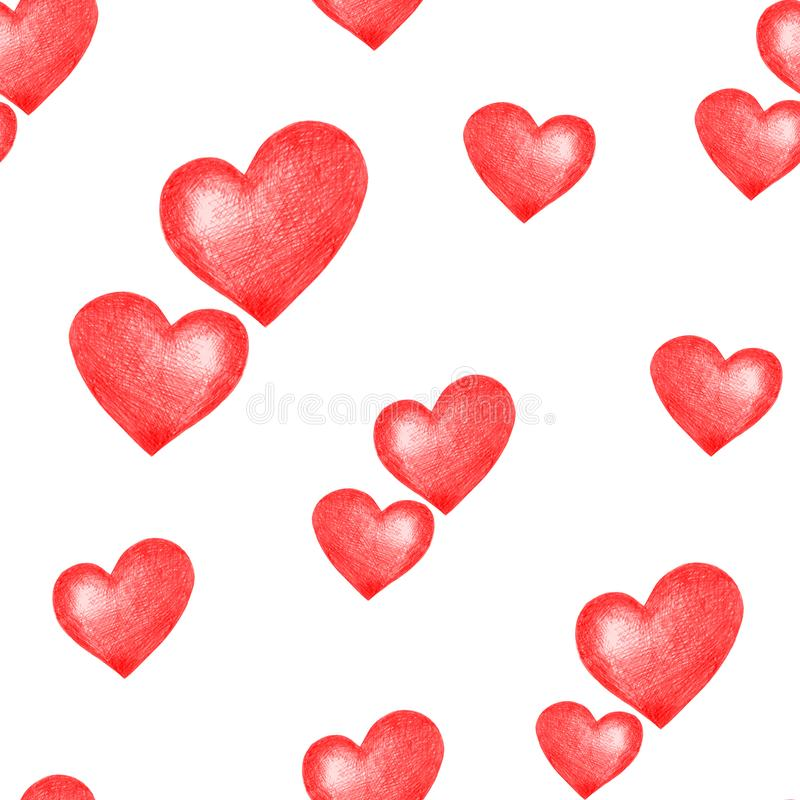 Love themes seamless texture. Seamless pattern with red hearts isolated on white. vector illustration