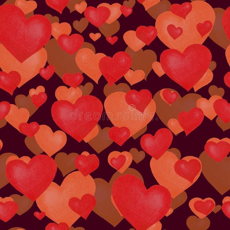 Love themes seamless texture. Red seamless pattern with red hearts isolated on white. stock images