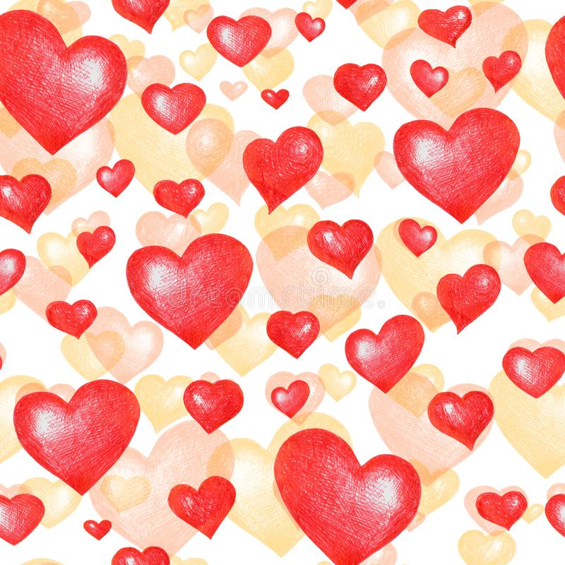 Love themes texture. Seamless pattern with  hearts isolated on white. stock images