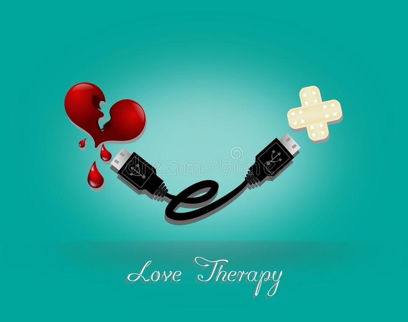 Love Therapy. Broken heart and sticking plaster connected with USB cable stock illustration