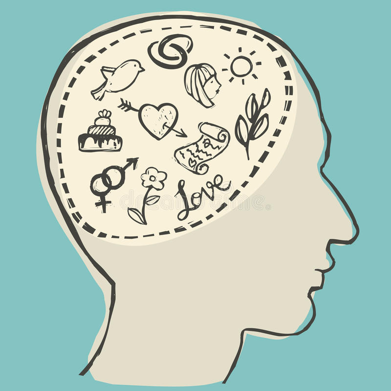 Love thinking. Human head with love thoughts inside, vector illustration vector illustration
