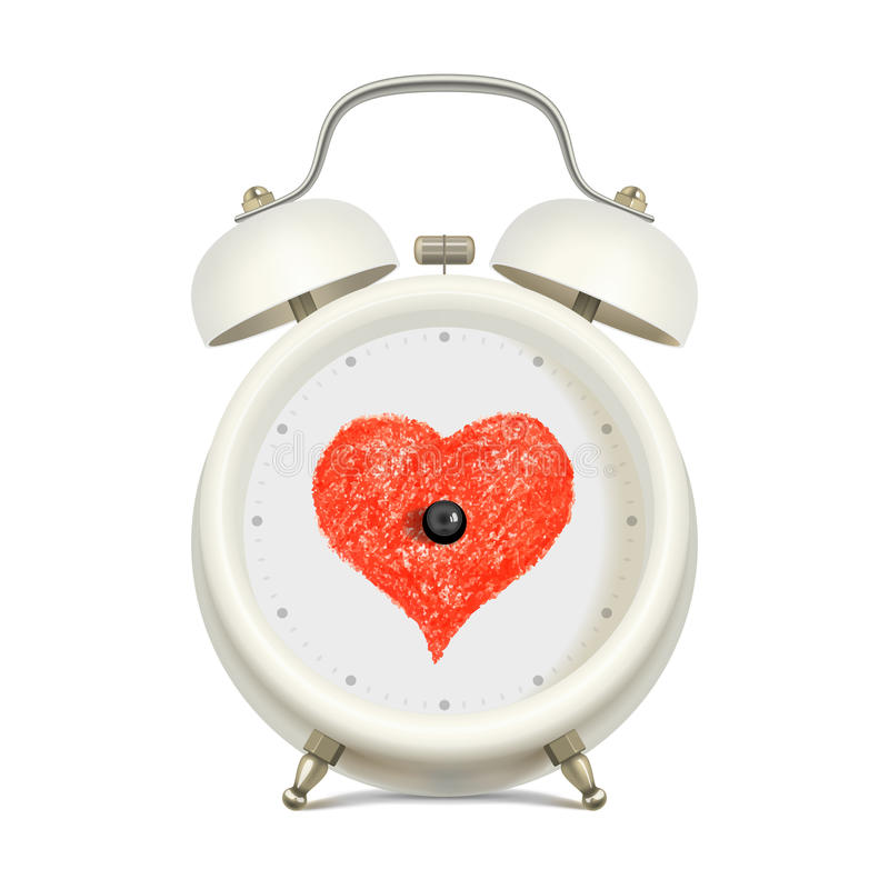 Love and time. White alarm clock with red heart in clock face center, without minute hand and without hour hand, on light background. Love and time concept vector illustration