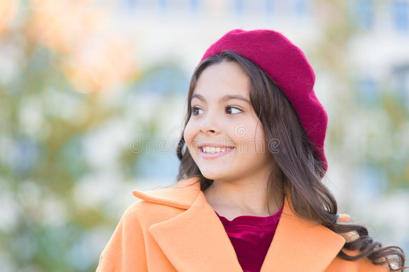 Always Love to be Fashionable. happy parisian girl in beret. french style. autumn fashion. school fall season. little stock images