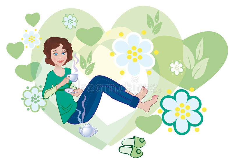 Download Love to green tea stock vector. Image of flower, sniff - 18505742