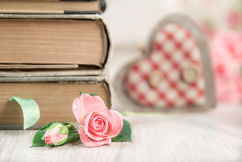 Love to reading, concept background with heart and rose stock images
