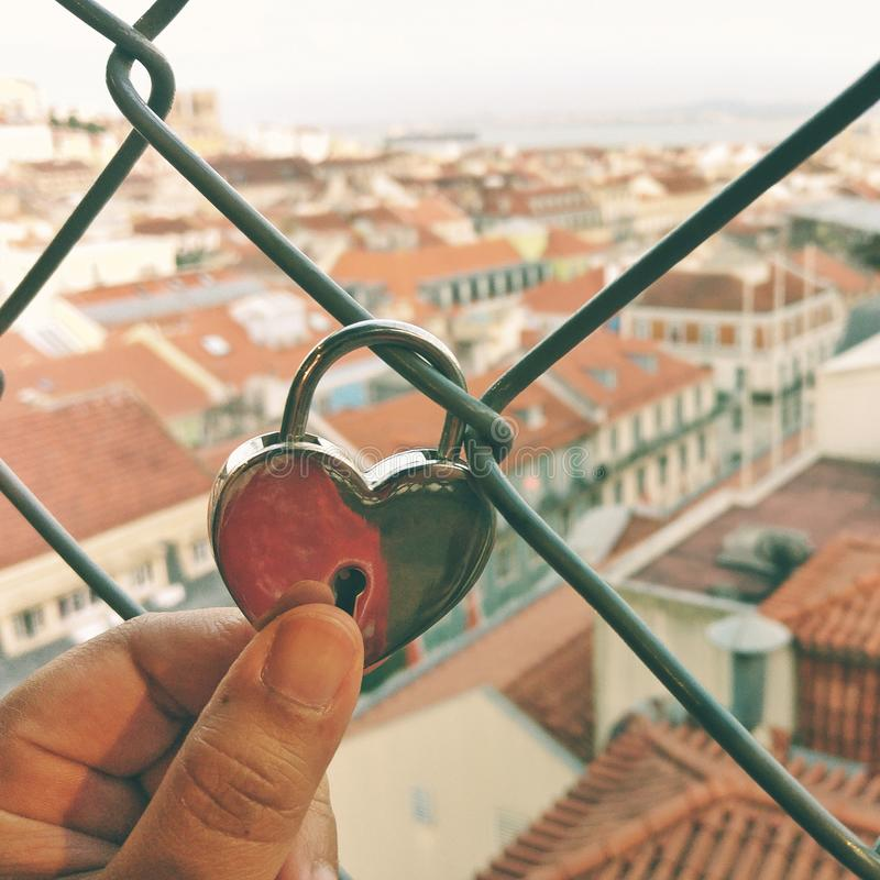 Love from the top of Lisbon stock images