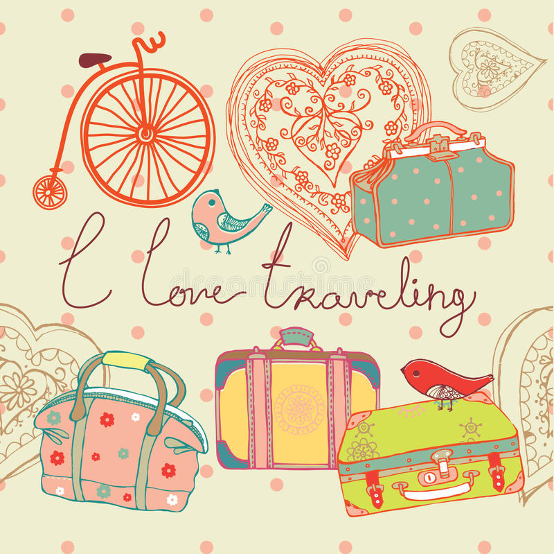 Love of travel background royalty free illustration