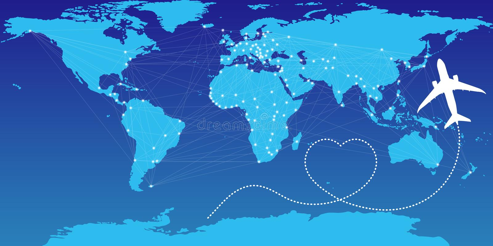 Love travel concept illustration in vector. Airplane flying and leave a white dashed trace line. Eps10 royalty free illustration