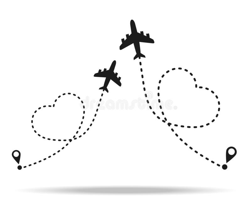 Love travel route. Airplane line path vector icon of air plane flight route with start point and dash line trace eps10. Love travel route. Airplane line path stock illustration
