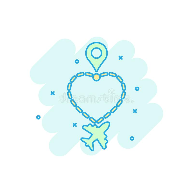 Love travel route icon in comic style. Airplane line path vector cartoon illustration on white isolated background. Dash line. Trace business concept splash royalty free illustration