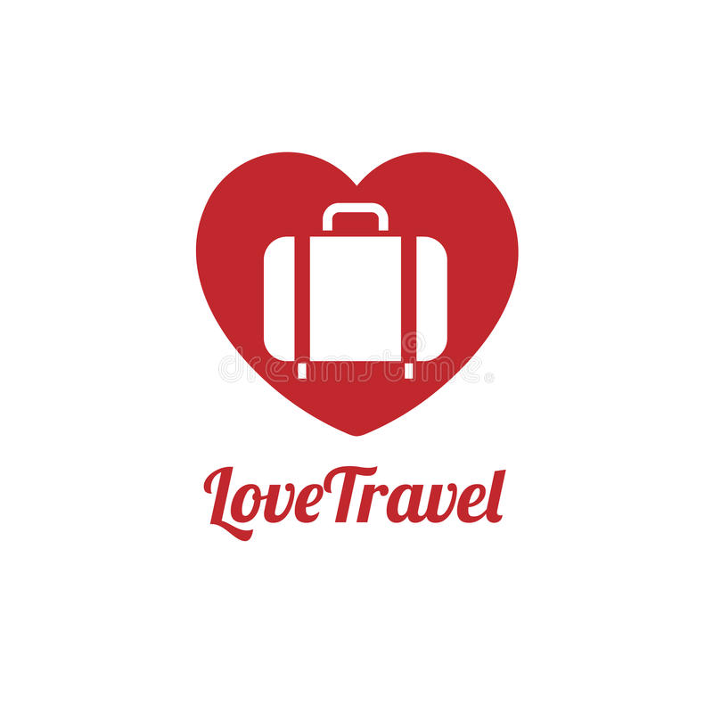 Love traveler, Travel bag vector logo icon royalty free illustration