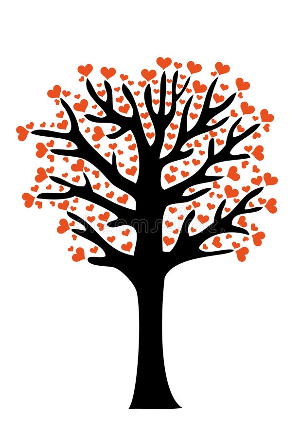 Love tree. Tree with heart leaves, vector background stock illustration