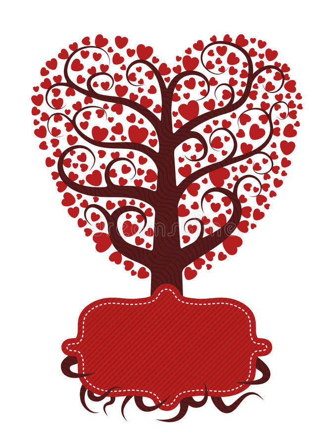 Love Tree With Banner Stock Photography