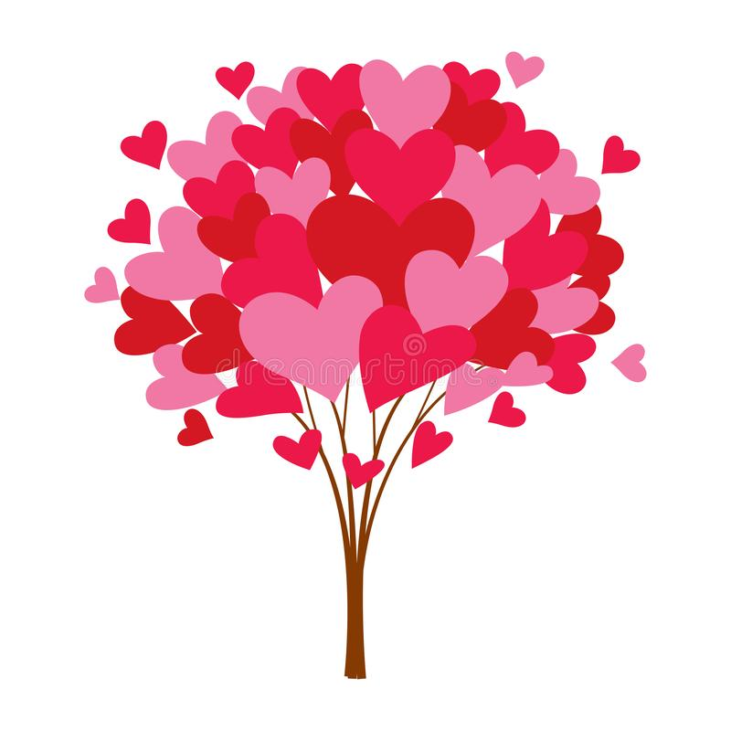 Love tree with heart leaves, vector royalty free illustration