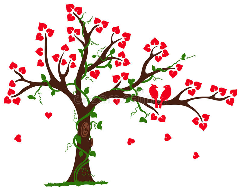 Love Tree with Heart liana and vine. This is an illustration of love tree with hearts surrounded by vine around its branches vector illustration