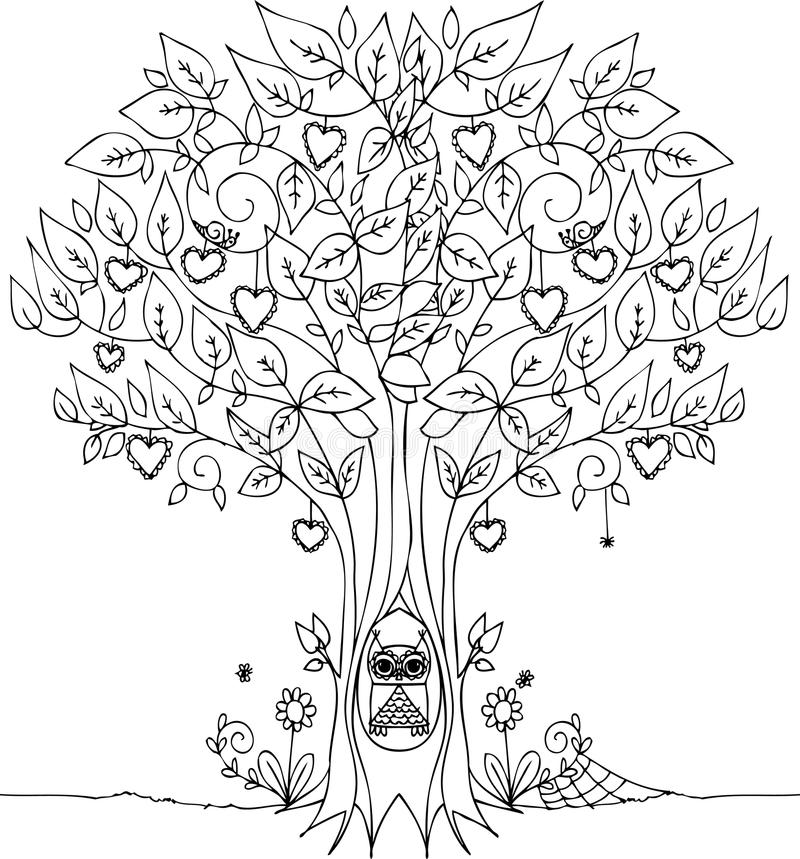 Love Tree With Owl Stock Vector - Image: 53825020