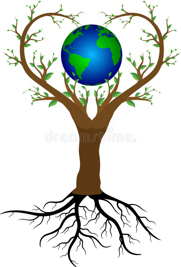 Love tree and planet earth vector illustration