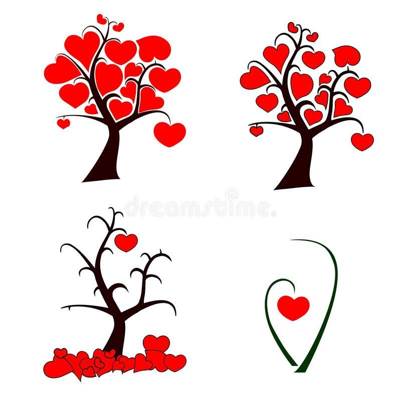 Love Tree Set Royalty Free Stock Image