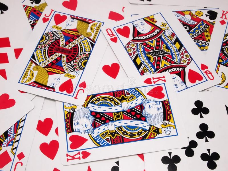 Love Triangle. Group of Card game on the floor , to show love triangle between King , Jack and Queen royalty free stock image