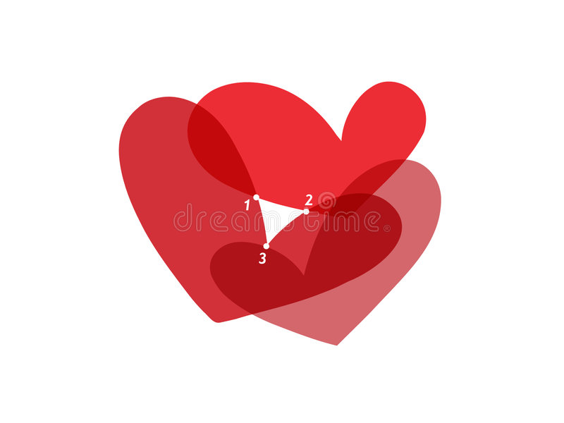 Love Triangle. Three intersected hearts forming a white love triangle stock illustration
