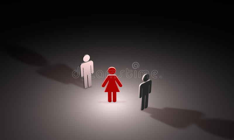 Love triangle (symbolic figures of people). 3D illustration. Figures of people. Available in high-resolution and several sizes to fit the needs of your project vector illustration