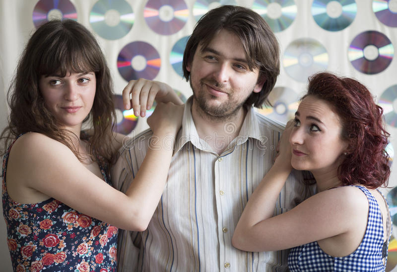 Love triangle. Between 3 young people royalty free stock images