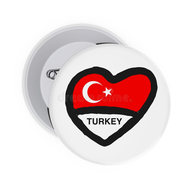 Love Turkey Concept. White Pin Badges with Heart, Turkey Flag and Sign. 3d Rendering. Love Turkey Concept. White Pin Badges with Heart, Turkey Flag and Sign on a vector illustration