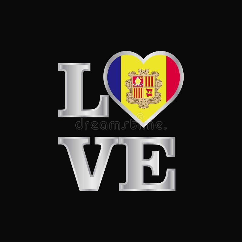 Love typography Andorra flag design vector beautiful lettering. This Vector EPS 10 illustration is best for print media, web design, application design user stock illustration