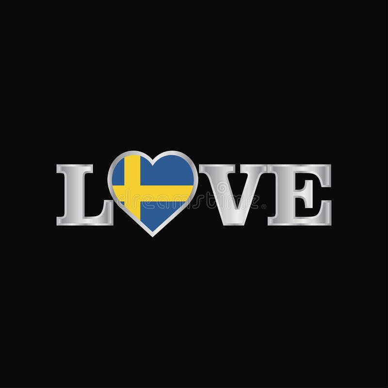 Love typography with Sweden flag design vector royalty free illustration
