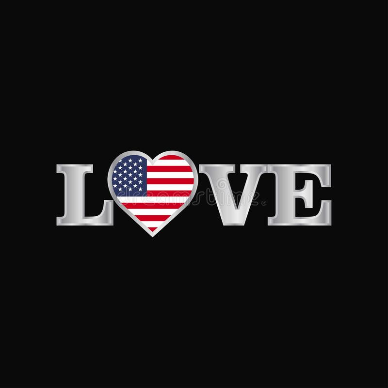 Love typography with United States of America flag design vector royalty free illustration