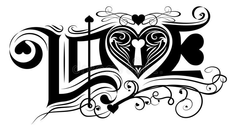 Love typography vintage classic black and white vector design. Love typography vintage classic black and white vector design stock illustration