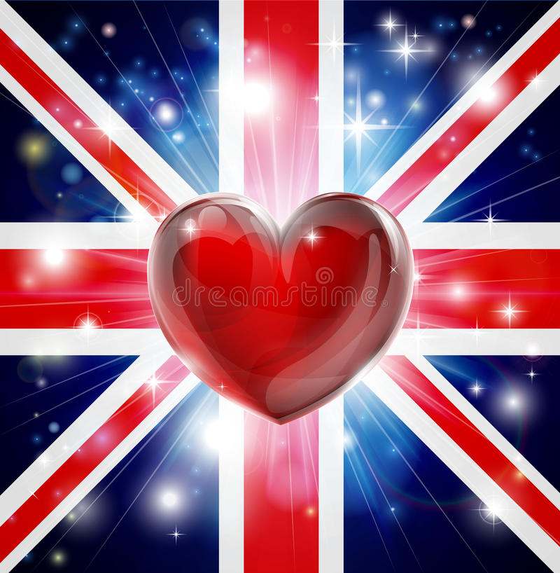 Download Love UK Flag Heart Background Stock Vector - Image: 28599329