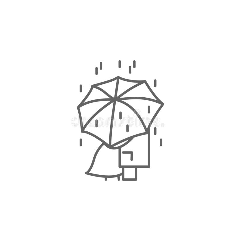 Love, umbrella, rain icon. Element of Paris icon. Thin line icon for website design and development, app development. On white background royalty free illustration