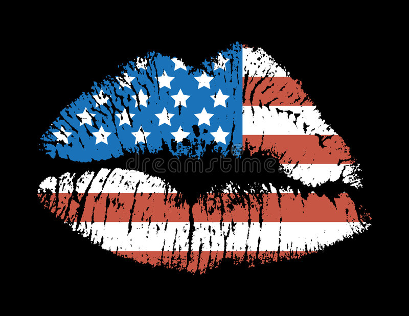 Love USA. Lips print of the US Flag. Also available as a fully scalable vector